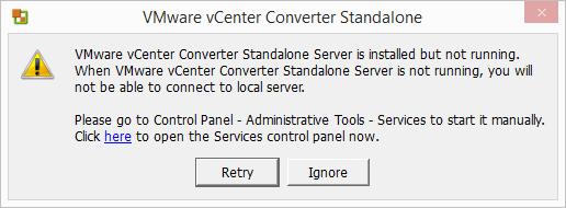 """Cannot start service"" error when installing Standalone Converter"