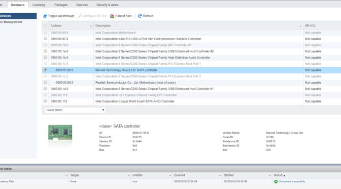 ESXi 6.7 Passthrough SATA Controller causes Windows 10 VM not to boot