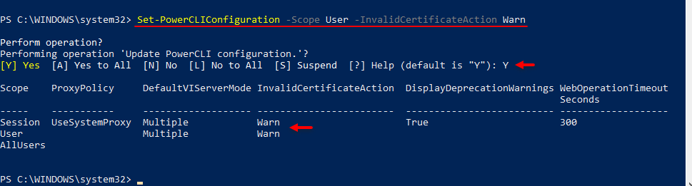 Set-PowerCLICOnfiguration-Scope-User-InvalidCertificateAction-Warn-vmware-powercli-automation-proxy-policy-defaultviserver.png