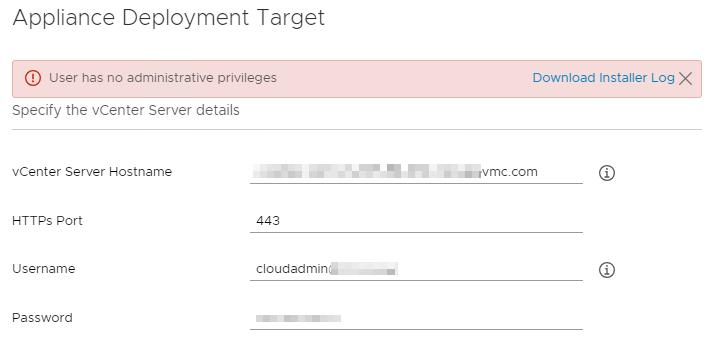 User has no administrative privileges