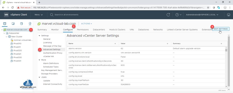 vmware vsphere vcenter client advanced vcenter server settings advanced settings edit settings Authentication Proxy vCenter HA Config.drs.kvstore.local config.log.level certmgmt.png