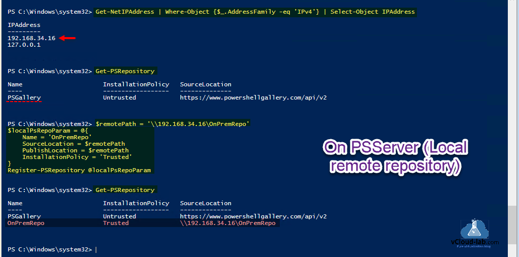 Powershell get-NetIPaddress where-object get-repository powershellgallary publishlocation installationpolicy sourcelocation setup configure powershell internal repository powershellget.png