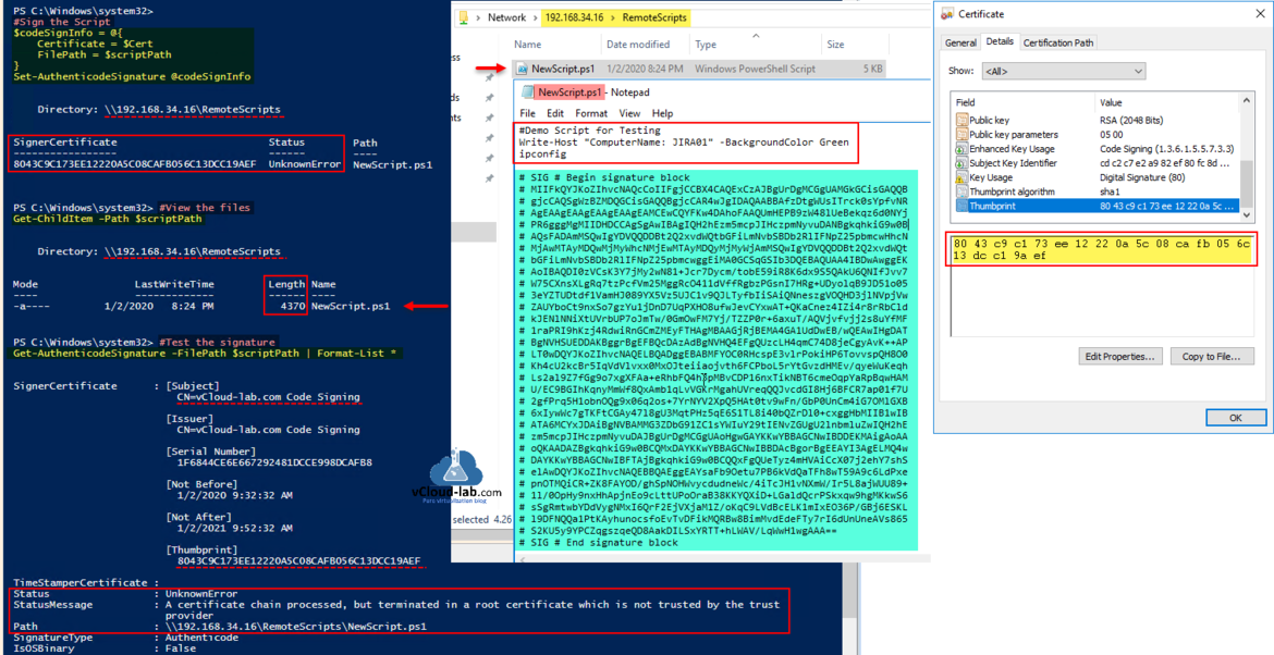 Microsoft Windows Powershell set-authenticodesignature remotesigning executionpolicy get-childitem get-authenticodesignature filepath format-list signercertificate unknownerror.png