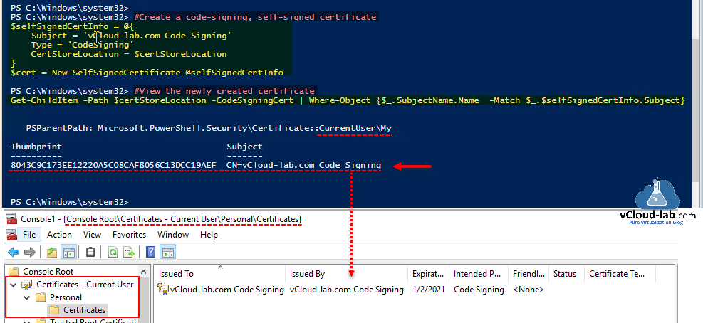 microsoft powershell code signing self signing certificate certstorelocation new-selfsignedcertiificate currentuser get-childitem codesigningcert where-object match psparentpath currentuser my.png