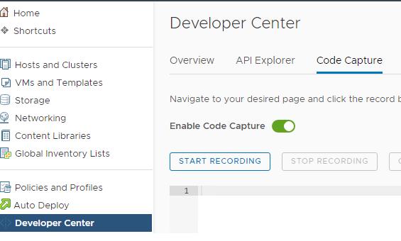 Функции Code Capture на платформе VMware vSphere в интерфейсе vSphere Client.