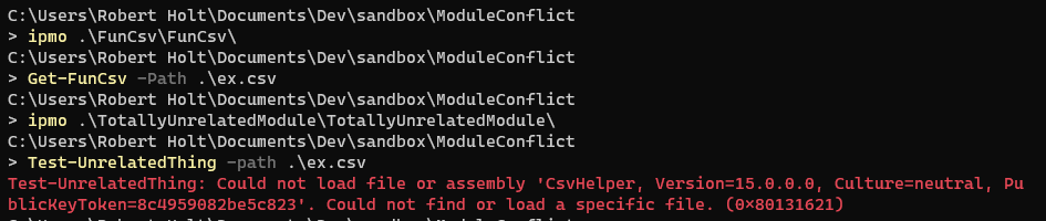 Assembly load conflict error message.