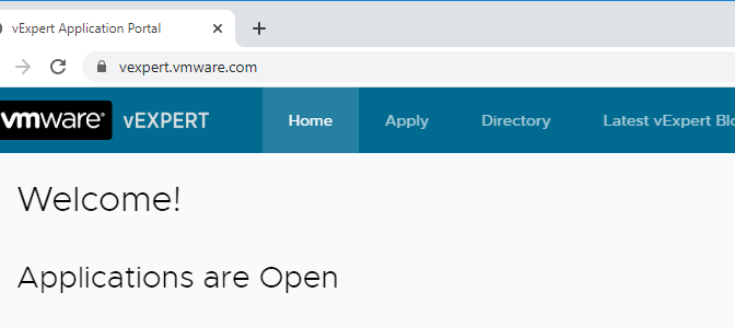 VMware vExpert applications are now open for 2nd half 2020