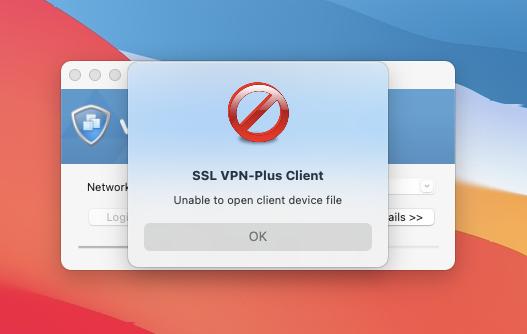 Supportability of SSL VPN-Plus Mac Client in macOS 11.0 Big Sur