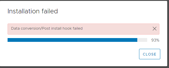 vcsa update to 7.0u1 Returning from install(), data conversion failed post install hook failed